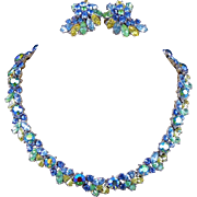 Crown Trifari Parure Pastel Fruit Salad Rhinestone Necklace & Earring Set