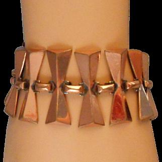 Vintage Renoir Matisse Copper Dog Bone Bow Tie Link Bracelet