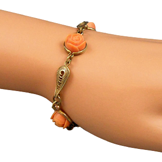 Vintage Carved Coral Colored Celluloid Rose Link Bracelet