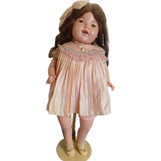 "Vintage 29"" Large Composition Mama Doll Brown Tin Sleep Eyes Older Clothing Cloth Body"