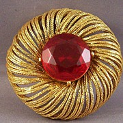Chunky Valentine Red Rhinestone Brooch Signed ART