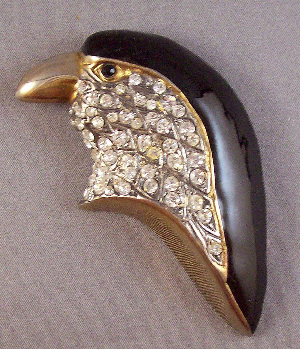 Large Figural Rhinestone & Enamel Bird Brooch
