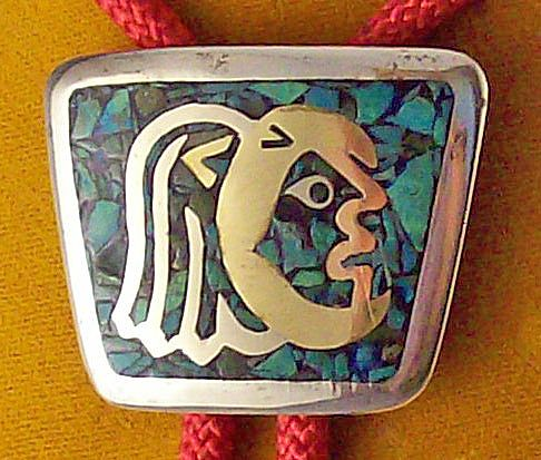 Fabulous Silver & Turquoise Taxco Bolo Tie signed Valentin V~c.1950