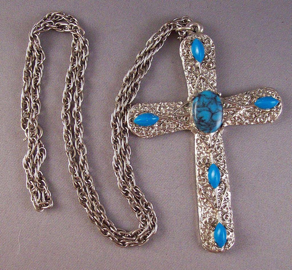 Vintage Large Silvertone & Faux Turquoise Cross Pendant