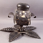 Vintage Glass Inkwell with a Tin Flower Holder