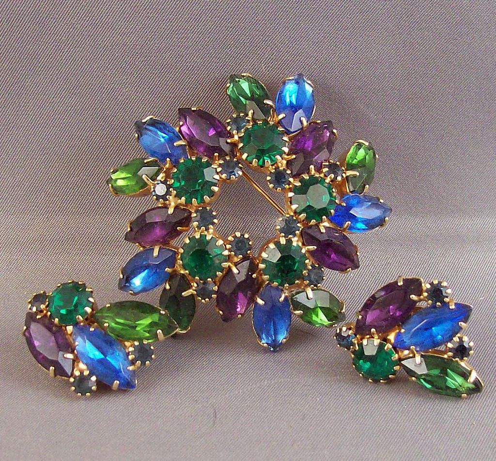 Delizza and Elster Julianna Green Blue Purple Demi Brooch and Earrings