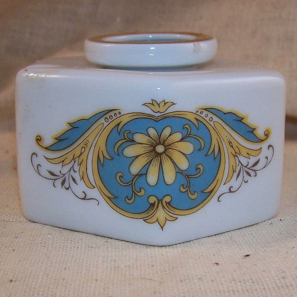 Vintage Blue & Yellow Limoges Pottery Inkwell