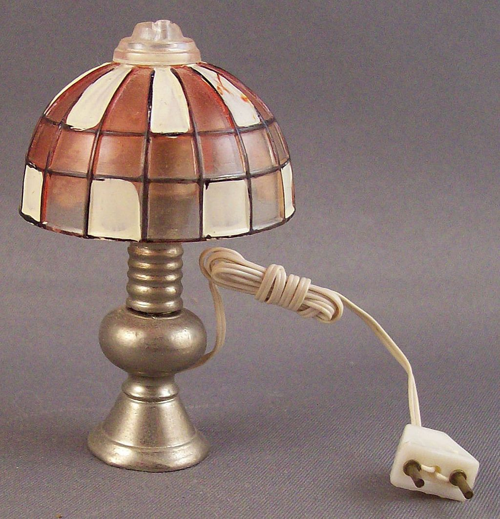 Miniature Functional Dollhouse Faux Stained Glass Lamp