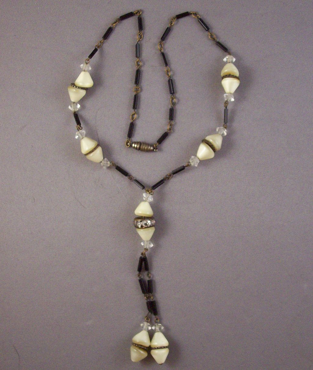 Art Deco Style Cone & Tube Bead Y Necklace