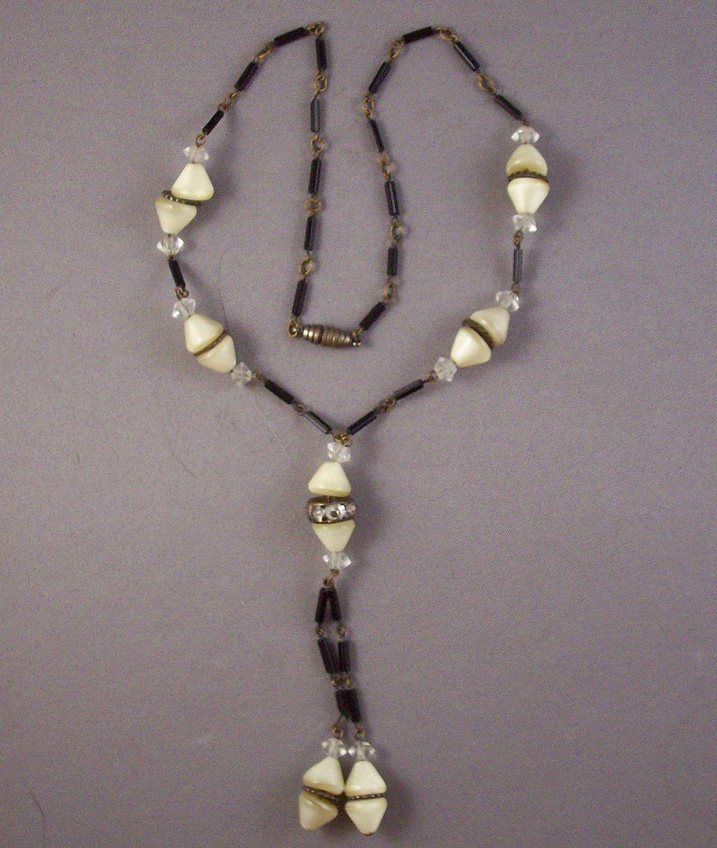 Art Deco Style Cone & Tube Bead Y Necklace