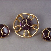 Vintage Amethyst Color Stone Brooch & Clip Earrings
