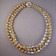 Vintage Marvella AB Crystal & Filigree Bead Necklace