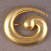 Kenneth Lane Brushed Goldtone Curling Vortex Brooch Book Piece