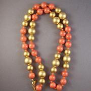 Vintage Kenneth Lane Goldtone & Salmon Bead Necklace