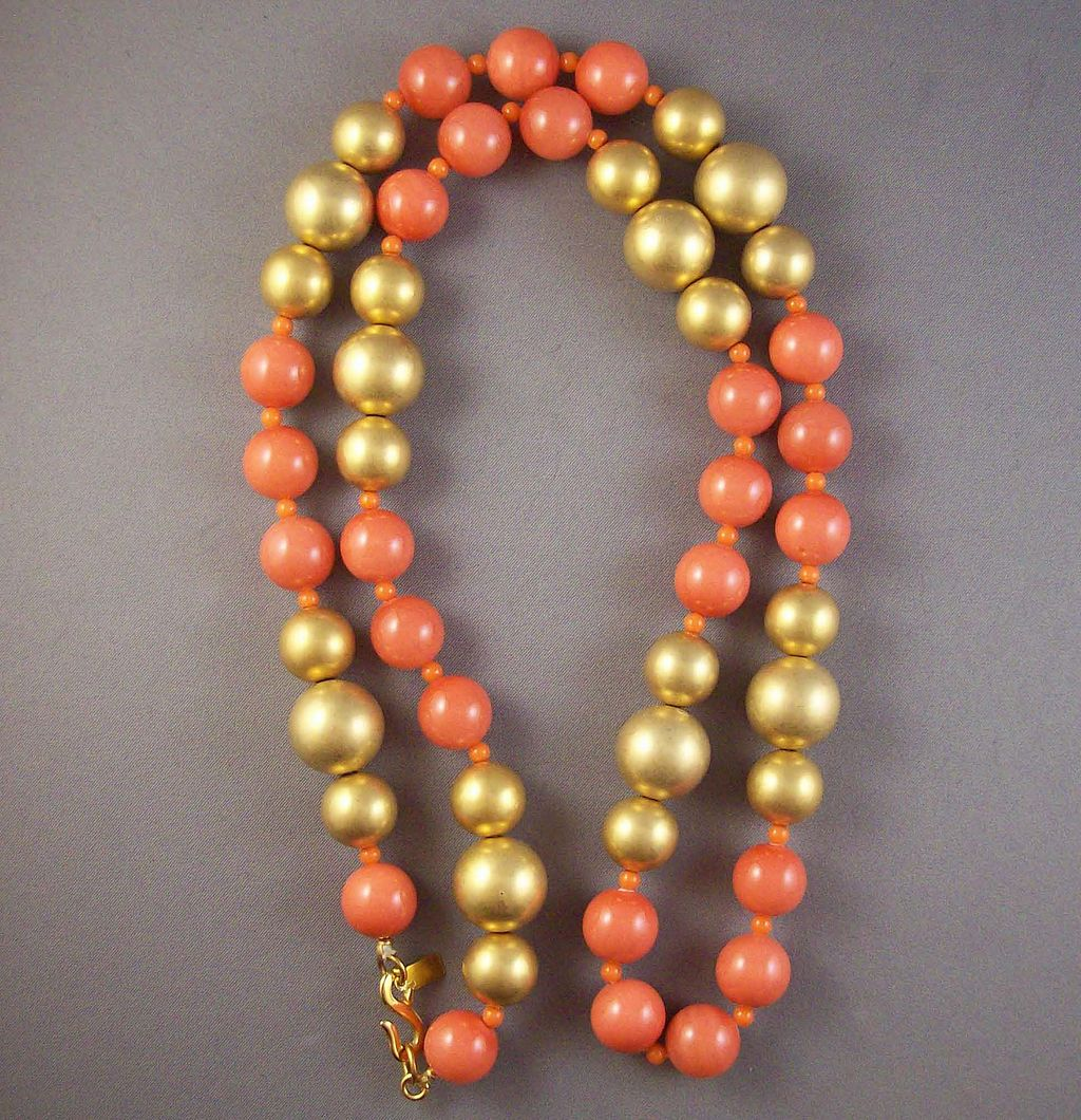 Vintage Kenneth Lane Goldtone & Salmon Bead Necklace