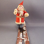 Vintage Paper Mache & Cotton Santa on Skis