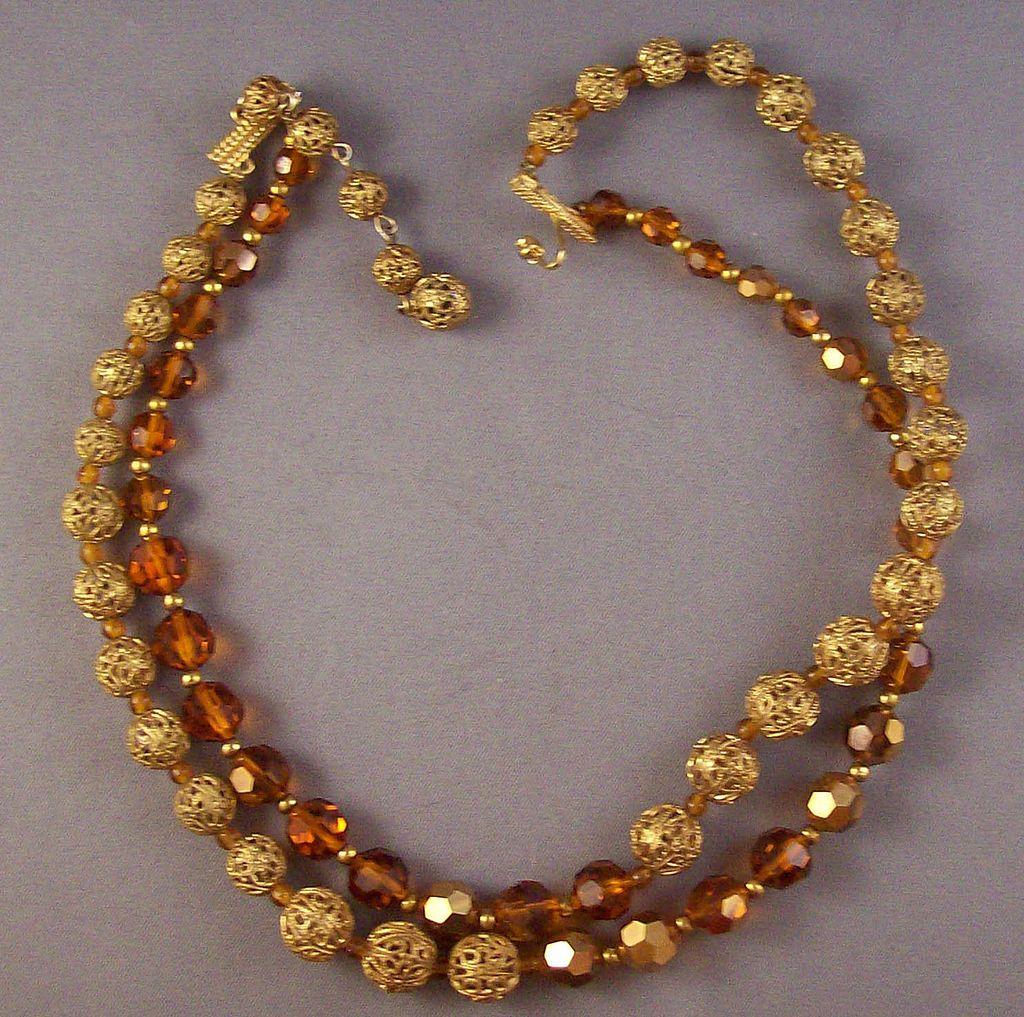Vintage Marvella Filigree Goldtone & Amber Glass Bead Necklace