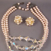 Vintage Pink Faux Pearl & Faceted Crystal Necklace & Earrings