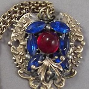 Victorian Red Carbuncle & Blue Marquise Stone Necklace