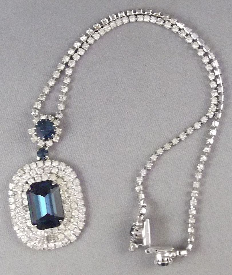 Vintage Cobalt Blue and Clear Rhinestone Pendant Necklace