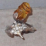 Unique Vintage Sterling Silver & Carved Amber Rose Ring