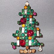 Vintage Weiss 6 Candle Christmas Tree Brooch