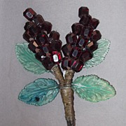 Early Red and Green Plastic Bead and Leaf Wired Brooch