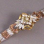 Sterling Silver & Clear Stone Mesh 3-tone Bracelet