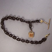 Victorian Woven Rollo Chain & Goldstone Simmons Watch Fob