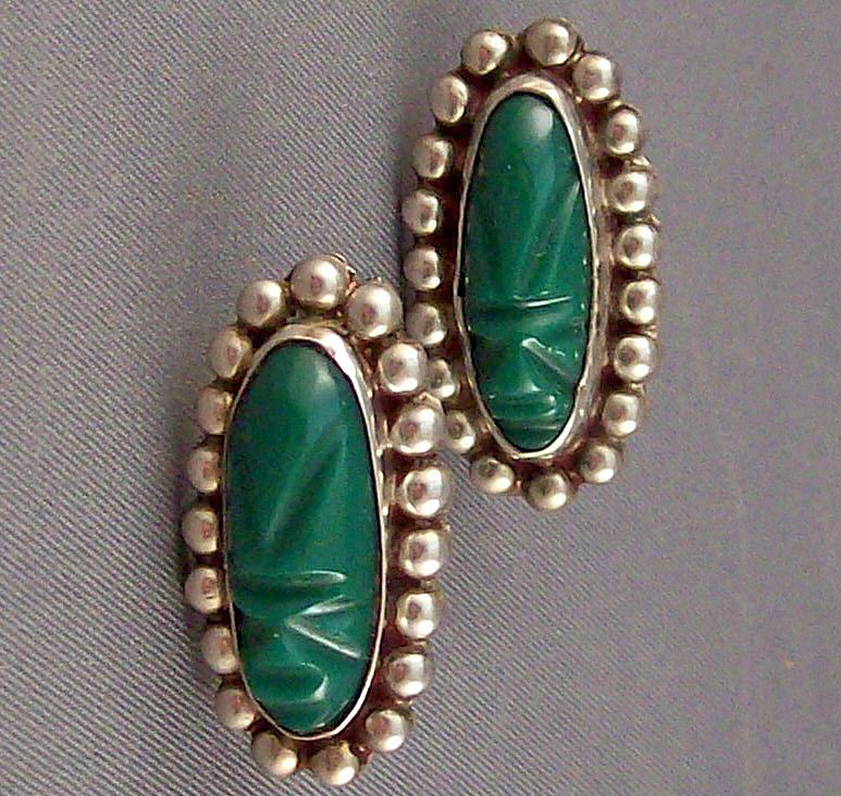 Vintage Signed Sterling Silver & Green Stone Screwback Earrings
