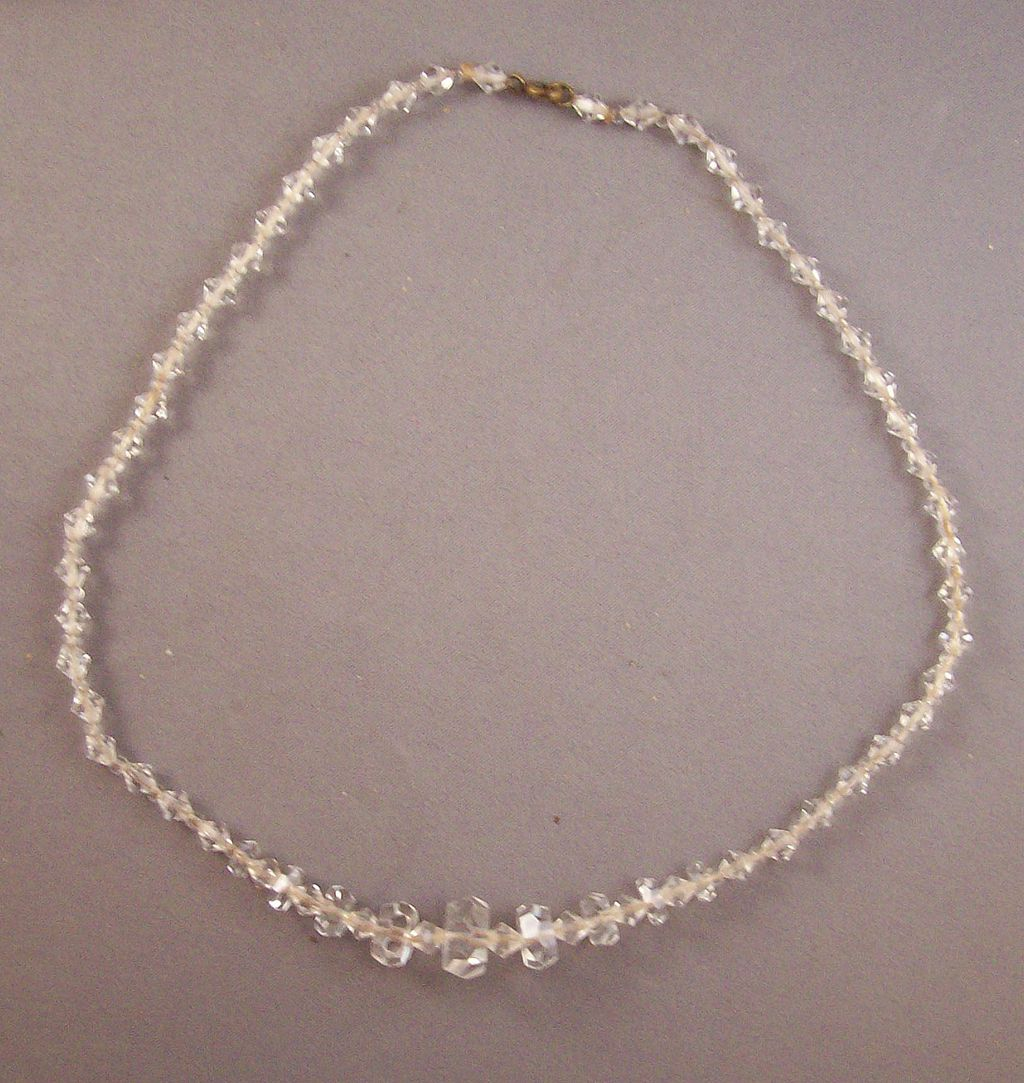 Beautiful Faceted Flat Side Crystal Bead Necklace