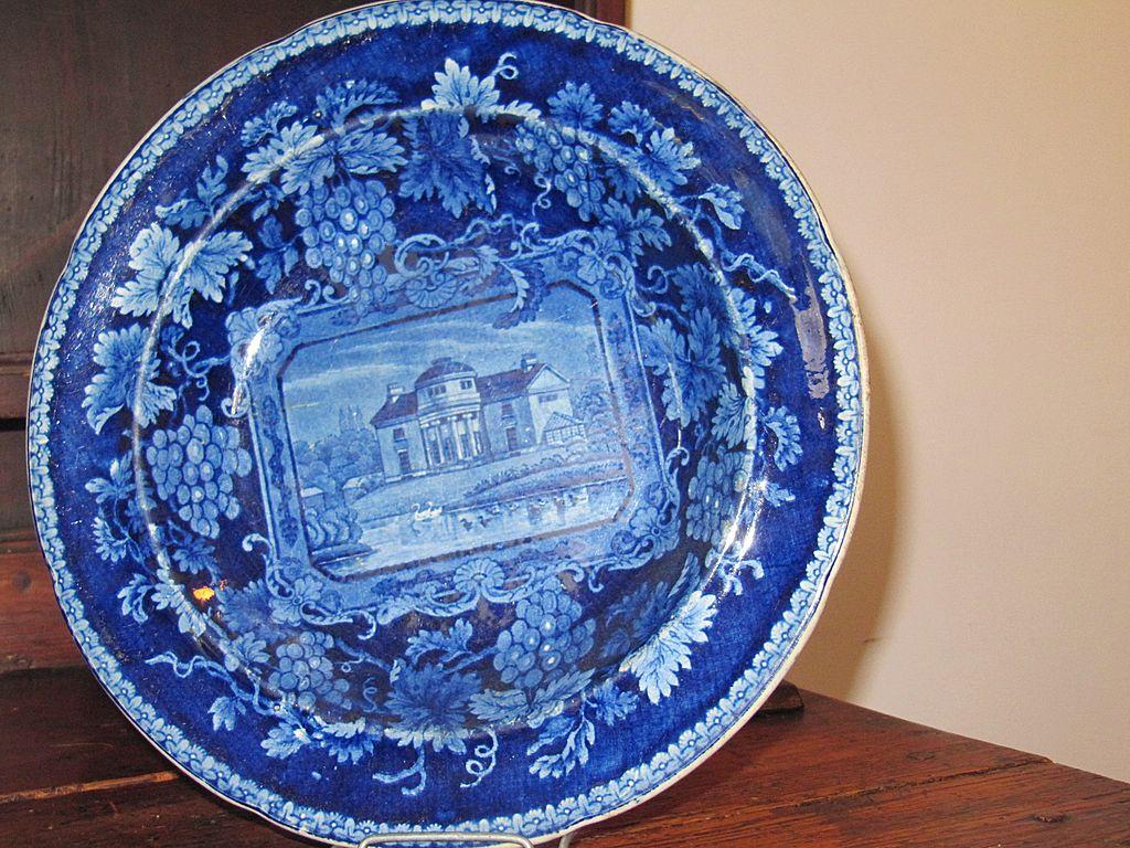 Antique Staffordshire Transferware Dark Blue Soup Plate 'London Views'
