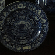 Staffordshire Transferware Plate Beehive and Vases  Dark Blue