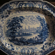 "Staffordshire Transferware Huge platter ""Oxford"", Well and Tree"