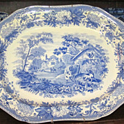 'Aesops Fables' Staffordshire Transferware Blue Platter  18 1/2""