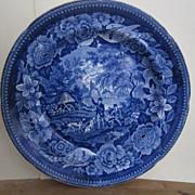 Staffordshire Transferware 10 Inch Dark Blue Hunting Scene