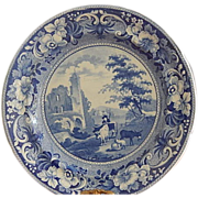 Antique Staffordshire Transferware Dinner Plate  C. 1825