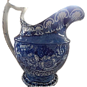 Dark Blue Staffordshire Transferware  Large Pitcher c.1825