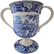 Staffordshire Transferware Medium Blue Loving Cup. C.1829. Two Rural Scenes. Perfect.