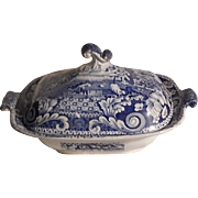 Antique Staffordshire Transferware Transfer Riley Large Scroll Border Rare Small Covered Dish