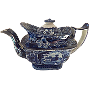 Antique Blue Staffordshire Transferware Teapot  Great Condition