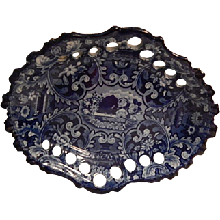 "Antique Staffordshire Transferware Dark Blue ""Beehive and Vases""  Reticulated Chestnut basket stand  Stevenson and Williams  C. 1825"