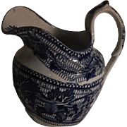 Antique Staffordshire Blue Transferware Small Creamer C. 1830