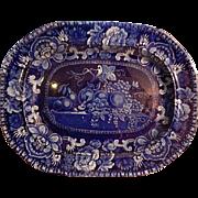 Antique Dark Blue Staffordshire Transferware Platter