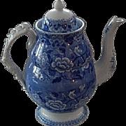 Antique Blue Staffordshire Transferware  coffee pot  Birds and Flowers  Rare Handle