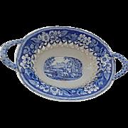 Antique Blue Staffordshire Transfer Chestnut Basket- 'Blind Boy'- John and William Ridgway- c.1822