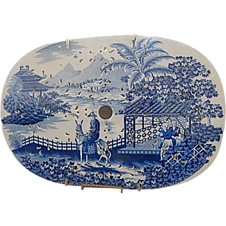 Antique Blue Staffordshire Transfer  Large Drainer- 'Departing Traveller' - Maker Unknown