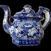 Antique Staffordshire Transferware Dark Blue Floral Tea Pot c.1830
