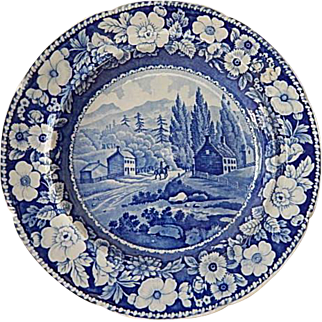 "Antique Historical Staffordshire Transferware Blue Plate- ""View On The Road To Lake George""- A. Stevenson- C. 1826"