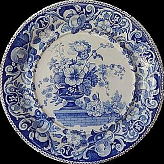 Staffordshire Transferware blue 12 1/2 inch circular tray- Davenport- C.1820